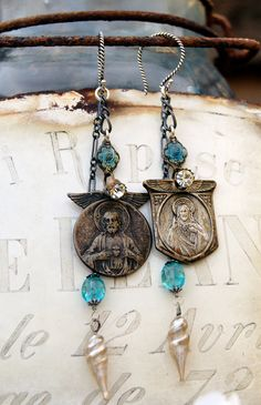 Sacred Heart and Icicles- Vintage Assemblage Earrings with Sacred medals and Gemstones via Etsy.