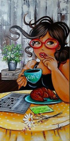 This is my kinda pic. With cafe y un croissant, Dale pa' encima! Plus Size Art, Fat Art, Isabelle, Woman Illustration, Black Women Art, Female Art, Art Pictures, Art Girl, Cool Art