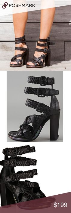"""HOT Alexander Wang Petra Braided Sandals Blogger and celebrity fave. Completely sold out. These pebbled leather high-heel sandals feature buckle closures at the woven straps. Iridescent leather-covered inset at platform. Covered heel. Padded footbed and leather sole.  * Heel: 4.5"""" (115 mm). * Platform: 3/4"""" (20 mm).  Size 9. Very good preloved condition. See all pics. Alexander Wang Shoes Heels"""