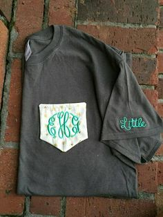 Check out this item in my Etsy shop https://www.etsy.com/listing/246247073/monogram-sorority-pocket-tee-with