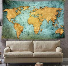 Wereldkaart op steigerhout home pinterest wereldkaart huisdecoratie en woonidee n - Afbeelding van huisdecoratie ...