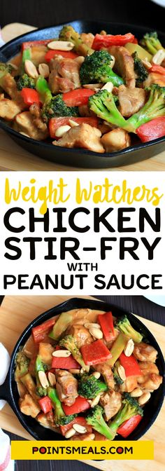 Chicken and vegetable stir- fry with easy peanut sauce (chinese fried chicken gluten free) Weight Watchers Tips, Weight Watchers Chicken, Atkins, Easy Peanut Sauce, Paleo, Dinner Recipes Easy Quick, Healthy Eating Recipes, Skinny Recipes, Chicken And Vegetables