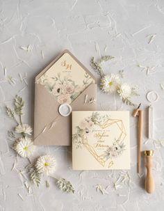 Zaproszenia slubne rustykalne 4/CB/z Wax Stamp, Elegant Wedding Invitations, Wedding Cards, Gift Wrapping, Diy, Gifts, Wedding Ideas, Interiors, Marriage Invitation Card