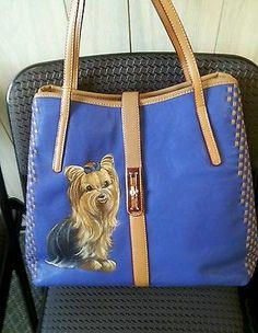 Handpainted Yorkie Blue Handbag Painting Purse Dog Art Misspaintsalot