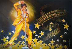 "Elvis Presley ''One Night''    Here is a new comissioned Elvis Presley Painting , based on a picture by Bettie Harper. As this picture is not availabe in larger size , the Customer asked me to reproduce it, or use it as a reference and bring it into something new.This is showing Elvis in his golden suit from 1957 and the Notes are from the song "" One Night"".  Acryl on Canvas 130 cm x 89 cm"