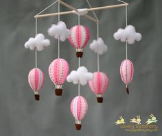 Pink hot air balloons baby mobile baby mobile by LovelySymphony