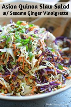 Call it Asian slaw or Chinese cabbage salad. Either way, it's clean-eating vegetables and protein-packed quinoa. Meal prep for Meatless Monday or busy weekday lunch. Add chicken, pork, or other veggies. Gluten-free, vegetarian. thekitchengirl.com
