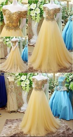 New Arrival Gold Beading Prom Dress,Tulle Evening Dress,Off the Shoulder Party Dress · LovePromDresses · Online Store Powered by Storenvy A Line Prom Dresses, Tulle Prom Dress, Beautiful Prom Dresses, Quinceanera Dresses, Ball Dresses, Pretty Dresses, Ball Gowns, Evening Dresses, Bridesmaid Dresses