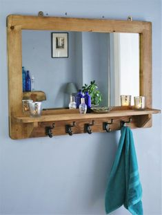 large mirror with shelf & 5 iron hooks, sustainable real wood mirror, hallway coat hooks, x cm - custom handmade in Somerset UK Large Wooden Mirror, Wood Mirror, Furniture Making, Wood Furniture, Handmade Furniture, Bathroom Furniture, Furniture Ideas, Bathroom Ideas, Mirror With Hooks