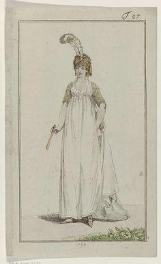 Journal des Luxus und der Moden, T Georg Melchior Kraus, 1798 - Rijksmuseum Rococo, Baroque, 18th Century Dress, 18th Century Fashion, Regency Dress, Regency Era, Historical Costume, Historical Clothing, Jane Austen