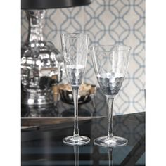 THE WELL APPOINTED HOUSE - Luxury Home Decor- Fez Cut Glassware with Silver Leaf Trim-Champagne Flute or Red Wine Glass Available from www.wellappointedhouse.com #homedecor #decorate #redecorate #bar #barware