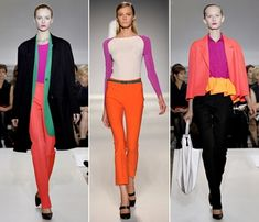 Love the new color blocking trend.  I'm going to be wearing some coral pants with a purple blouse and a turquoise blazer next time I go out.  Love this trend and think it will stay around for awhile.