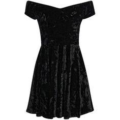 Boohoo Niami Velvet Skater Dress ($20) ❤ liked on Polyvore featuring dresses, black, vestidos, short dresses, women dresses, velvet cocktail dress, black mini dress, cocktail dresses and black skater dress