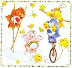Care Bears : left to right - Tender heart bear, Cheer Bear, Grumpy Bear,  and Funshine Bear