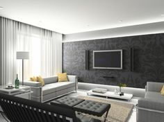 modern black and white living room. love the two toned (gloss/matte?) wall.