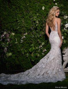 eve of milady spring 2017 bridal sleeveless deep v neck full embellishment elegant fit and flare wedding dress open scoop back chapel train (1584) bv -- Eve of Milady Spring 2017 Wedding Dresses