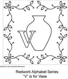 Free Redwork Alphabet Patterns V through Z and Filler Blocks - Redwork Alphabet Embroidery Series Part 4, Page 2