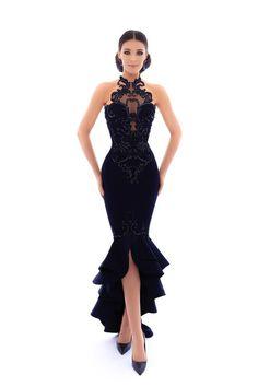 Tarik Ediz - 93452 Beaded Halter Crepe Trumpet Dress In Blue Women's Evening Dresses, Prom Dresses, Formal Dresses, Wedding Dresses, Evening Gowns Couture, Elegant Dresses, Pretty Dresses, Trumpet Dress, Beautiful Gowns