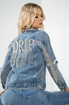 DRIPPIN RHINESTONE EMBELLISHED DENIM JACKET in color blue Denim Jacket Patches, Denim Jackets, Jean Jackets, Current Fashion Trends, Jacket Style, Custom Clothes, Casual Looks, Indigo, Trending Outfits