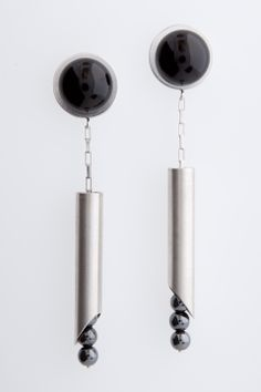 """R n R Pipecuts"" hand fabricated sterling silver earrings with black onyx and hematite beads by, Melanie Clarke"