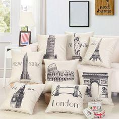 - Sights Of The World Pattern Pillow Case Cushion Cover Big Ben Statue Of Liberty & Garden Throw Pillow Cases, Throw Pillows, Owl Pillows, Burlap Pillows, Sofa Throw, Cushion Covers, Pillow Covers, Pillowcase Pattern, Big Ben
