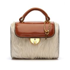 Maison Margiela Leather and Fur Bauletto Bag ($1,845) ❤ liked on Polyvore featuring bags, handbags, 100 leather handbags, genuine leather purse, fur handbags, fur purses and brown handbags