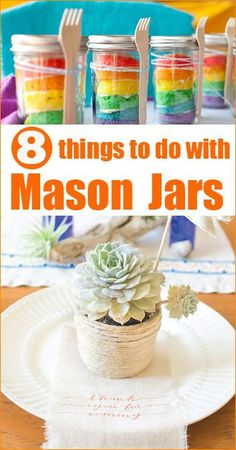 8 Mason Jar Projects to Love! Mason jar projects to beautify and accent your home. Fun and creative mason jar crafts for all ages. Arts And Crafts For Teens, Art And Craft Videos, Easy Arts And Crafts, Mason Jar Meals, Mason Jar Gifts, Mason Jar Diy, Canning Jars, Jar Crafts, Bottle Crafts