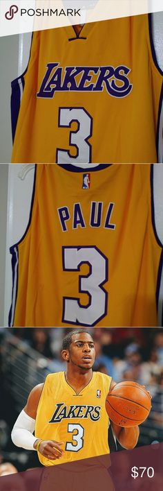 """Chris Paul Los Angeles Lakers NBA trade Jersey Size: Large  In 2011, NBA All-star Chris Paul was traded to the Los Angeles Lakers then rejected by the league known only as """"The Veto"""".  NBA commissioner David Stern sent shockwaves throughout the league by nixing the league-owned New Orleans Hornets' plans to trade guard Chris Paul to the Los Angeles Lakers.  Jersey is stitched. Great for any Chris Paul fan or Lakers collector. adidas Shirts Tank Tops"""
