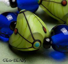 GeoBeads  set of artisan lampwork beads by romanaaldorf on Etsy, $19.00<3<3<3STUNNING BEADS<3<3<3