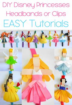 Disney Princesses out of ribbon for Headbands and or Clips Tutorials - Yes just YES!  Finally this tutorial has instructions for each one!
