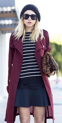 #fall #fashion / burgundy coat + stripes