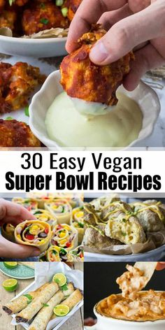 30 Amazing Vegan Party Recipes Are you looking for vegan super bowl recipes? This list of 30 vegan party recipes includes all the recipes you need: vegan dips, salads, vegan finger food, and even desserts! Vegan Appetizers, Appetizer Recipes, Party Recipes, Party Appetizers, Dinner Recipes, Dinner Ideas, Vegan Finger Foods, Vegan Foods, Vegan Meals