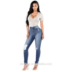 custom newest fashion stretch blue holes denim jeans women negotiate price