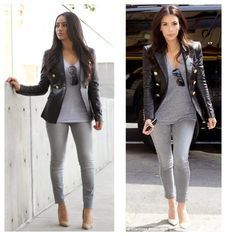 Maytedoll: Celebrity Look For Less: Kim kardashian Balmain Leather Blazer Kim Kardashian Balmain, Look Kim Kardashian, Estilo Kardashian, Kim Kardashian Blazer, Fall Winter Outfits, Winter Fashion, Long Blazer, Inspiration Mode, Leather Blazer