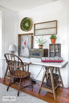 Make this rustic farmhouse-styled Ikea trestle sewing table that doubles as a desk! With a crate to hide the sewing machine and vintage soil sifters for decor and organizing sewing gear.