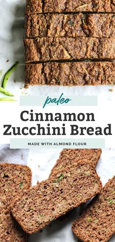 This Cinnamon Zucchini Bread uses grain-free flours, eggs, a touch of oil and tons of cinnamon and zucchini. Gluten-Free Dairy Free and Paleo. Cinnamon Zucchini Bread, Gluten Free Zucchini Bread, Dairy Free Bread, Zucchini Bread Recipes, Zucchini Cake, Healthy Bread Recipes, Healthy Breakfast Recipes, Clean Eating Recipes, Real Food Recipes