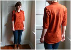 Orange linen Archer shirt = gorgeousness. Linen for this shirt is genius and orange is gorgeous. I love orange.