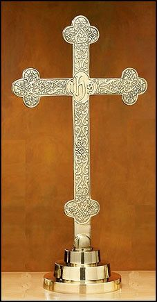 """Budded IHS Solid Brass Altar Cross with filigree design. Beautiful cross for Church, Chapel or School. Made of Brass Measures :22 3⁄4"""" H, Base 6 3⁄4"""" W"""