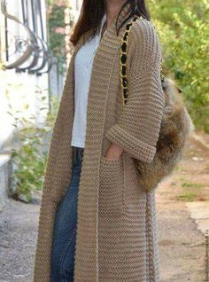Knitting Patterns Coat Similar image Crochet Coat, Knitted Coat, Crochet Jacket, Knit Jacket, Crochet Cardigan, Crochet Clothes, Knit Dress, Long Cardigan, Coat Patterns