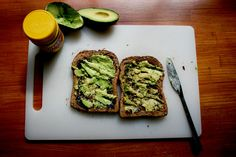 Avocado and Vegemite on toast.... YUM!