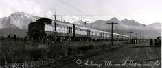 """I'm betting this is one streamliner that few railfans here in the lower 48 have seen. This is the Alaska Railroads first streamlined train """"AuRoRa"""". It was powered by two ex-Army ALCo RSD1's with special cab bodies. Like modern ARR trains the paint scheme was blue and yellow."""