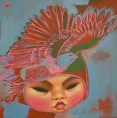 Paintings by Poh Ling Yeow, a Malaysian-born Australian artist, actress and runner-up in MasterChef Australia. Painting Of Girl, Painting & Drawing, Art Cart, Beautiful Fish, Beautiful Women, Pop Surrealism, Australian Artists, Goldfish, Asian Art