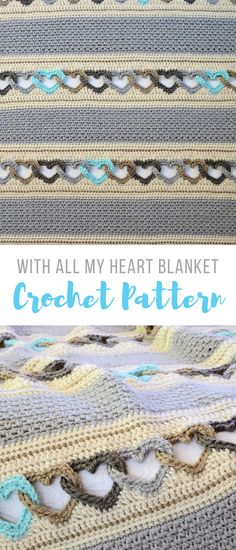 stunning crochet blanket pattern interlocking hearts, nice colors, i might do it in pinks and grays for emma. #crochetblanketpattern #crochetblanket #crochetheartblanket #crochet #crochetpatterns #affiliate