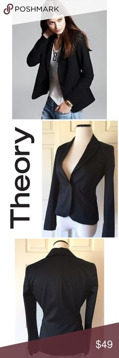 """THEORY COTTON NANA BLACK BLAZER Theory Nana black blazer 🔹Single button🔹🔹Double vented back🔹fitted🔹Fabric: 95% cotton, 5% elastane 🔹Light gray pinstripe throughout🔹 Size 4: 22"""" length, 33"""" bust, 24"""" sleeves🔹Excellent condition🔹NO trades🔹Smoke Free Home🔹Bundle discount:  10% off two, 15% off theee🔹Thank you for stopping by💕 Theory Jackets & Coats Blazers"""