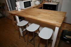 ikea stenstorp kitchen island from wooden and seating Kitchen Island Cart, Dining Table In Kitchen, Ikea Kitchen, Dining Area, Burford Grey Kitchen, New Interior Design, Furniture, Conservatory, Kitchens