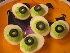 Getting the kids to eat a healthy snack on Halloween isn't a challenge at all with these easy to prepare monster eye devilled eggs!