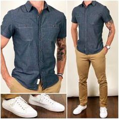Summer ready ☀️😎 with and 👌🏼🔥 Do you like this easy summer outfit❓ Shirt: Townsend Dobby Short Sleeve Shirt Carbon Whisper Pants: Newport Modern Fit Chino British Khaki Sneakers: White Low Top Chinos Men Outfit, Khaki Pants Outfit, Sneakers Outfit Men, Gq Mens Style, Mens Style Guide, Men Style Tips, Stylish Mens Outfits, Casual Outfits, White Shoes Men