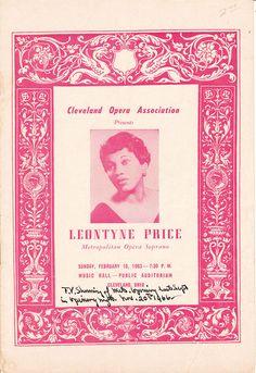 Leontyne Price, Program Cleveland Opera Association, 1963 ( NUMBER CHALLENGE) dates on program