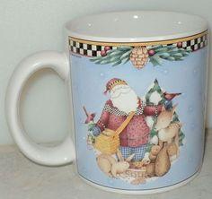 Debbie Mumm Woodland Santa Mug 1998 Sakura Animal Christmas Blue Coffee Cup  ~ This Item is for sale at LB General Store http://stores.ebay.com/LB-General-Store ~Free Domestic Shipping ~