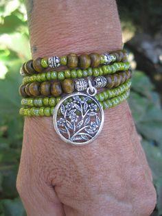 Green Harmony and Wood Beaded Bohemian Stretch